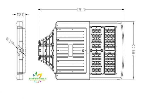 misure del lampione stradale fotovoltaico 2000-3000-4000 lumen