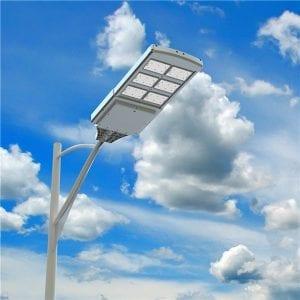 lampione solare per strade e illuminazione pubblica, 4000 lumen, pannello fotovoltaico incorporato