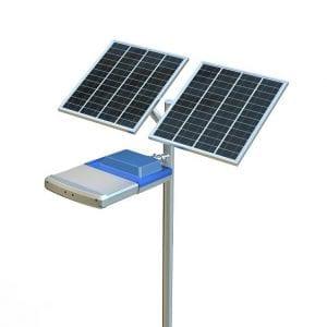 Lampione stradale con doppio pannello fotovoltaico, 9600 lumen