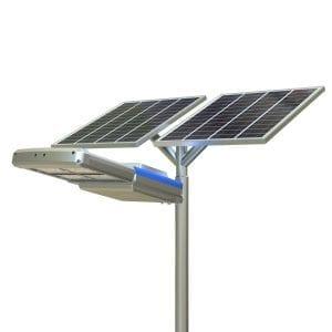 Lampione da strada con doppio pannello fotovoltaico, led di ultima generazione, 9600 lumen