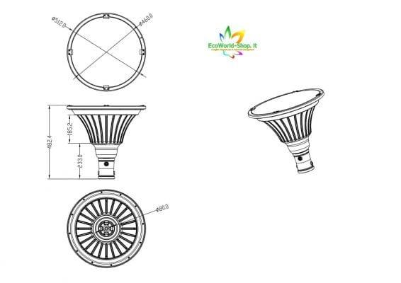 misure del lampione fotovoltaico per piazzali e giardini 2000 lumen