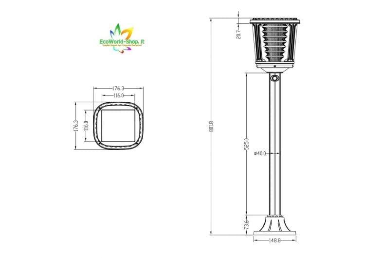 misure del lampioncino da giardino ad energia solare 400 lumen