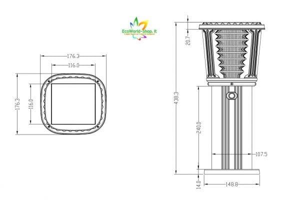 Misure del lampioncino solare SG-03
