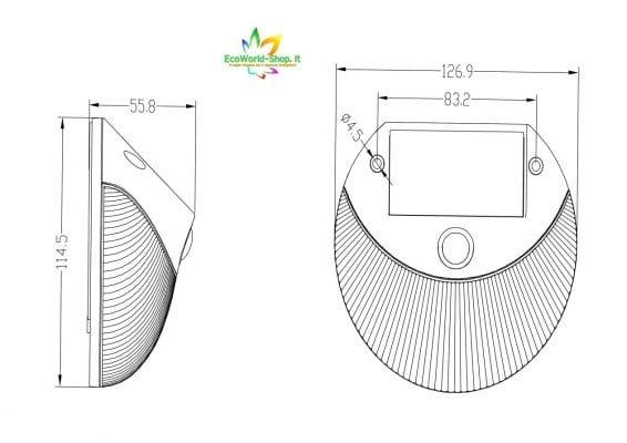 misure lampada solare parete design