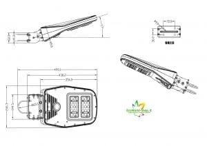 Misure lampione fotovoltaico 1000 lumen telecomando