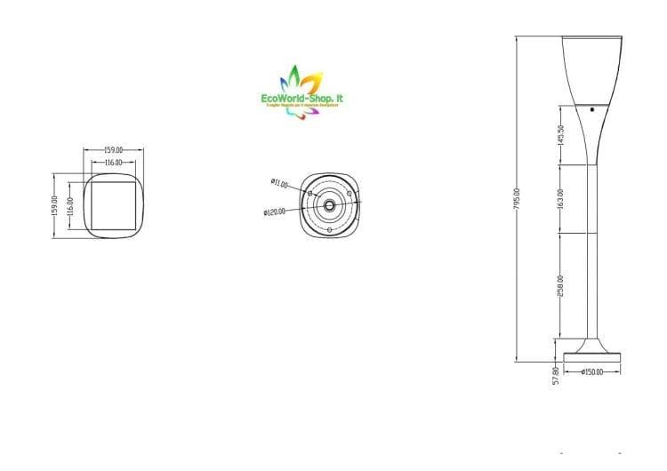 misure lampioncino solare da giardino elegante