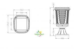 misure della lampada solare a colonne da esterno