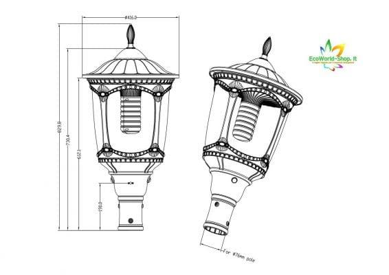 Misure di un lampione solare stile antico
