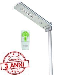 Lampione 3000 lumen con pannello fotovoltaico e telecomando 3 anni di garanzia