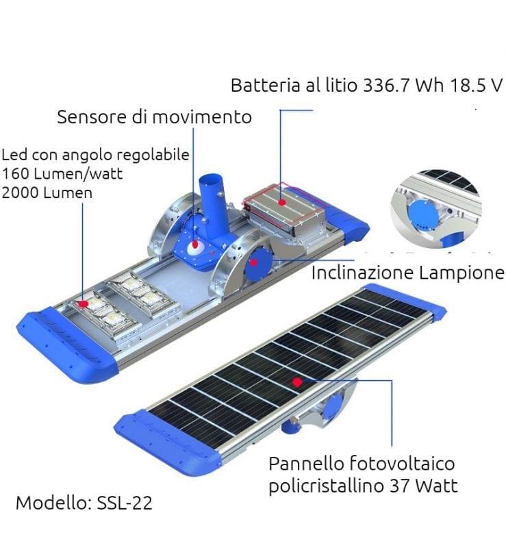 Lampione solare 2000 lumen dettaglio