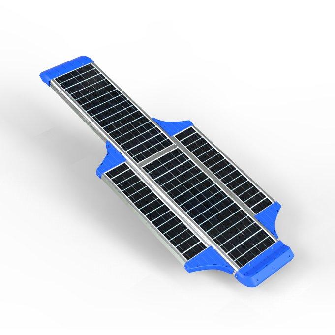 Lampione stradale solare 7000 lumen vista pannello fotovoltaico