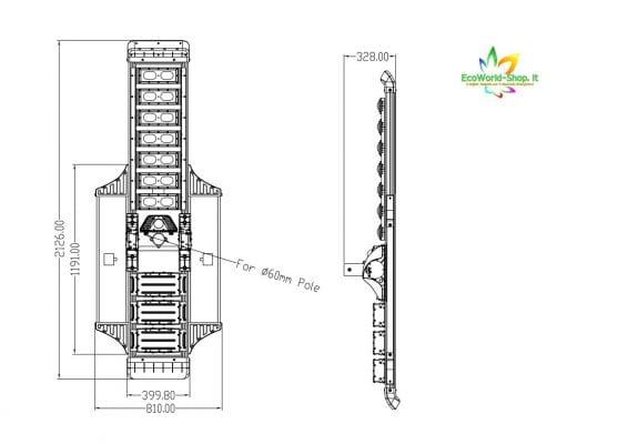 Misure lampione stradale solare 7000 Lumen