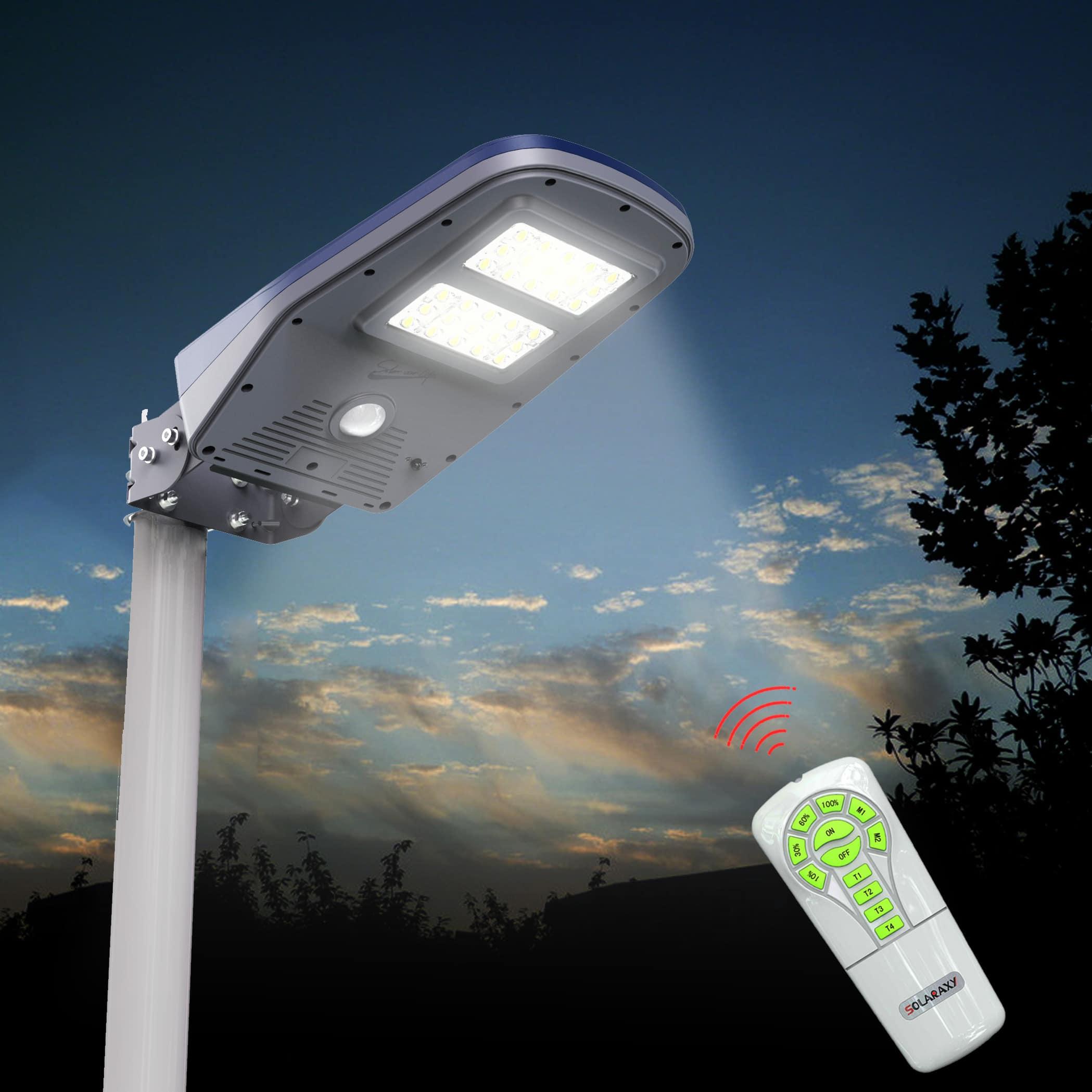 Lampione a led solare da esterno 1000 lumen e con for Lampioni da esterno