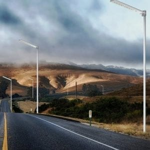 Lampioni solari installati su strada
