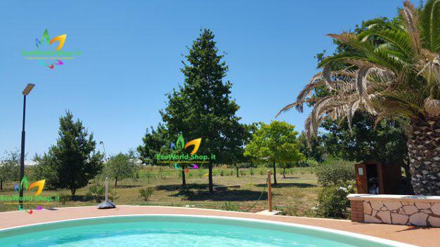piscina con installato un lampione ad energia solare