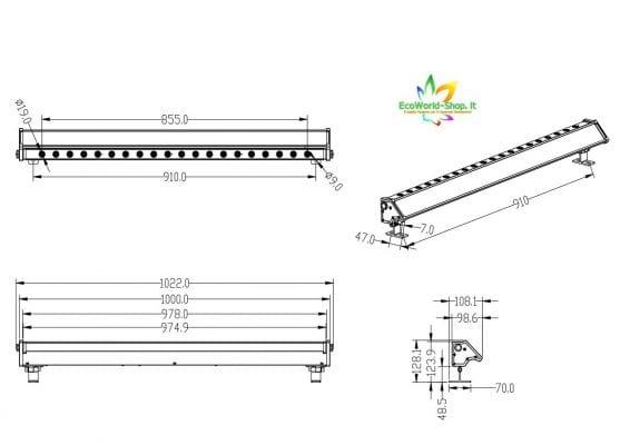 Misure di un faro solare per illuminazione insegne 400 lumen