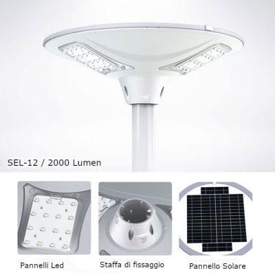 dettaglio componenti del lampione solare sfera da 2000 lumen con telecomando