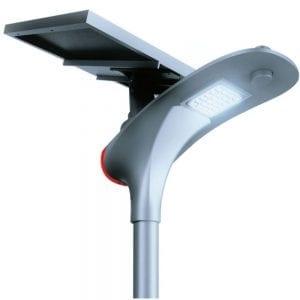 lampione a energia solare con pannello orientabile