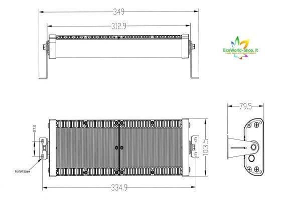 misure di un faro solare da 4000 e 5000 lumen