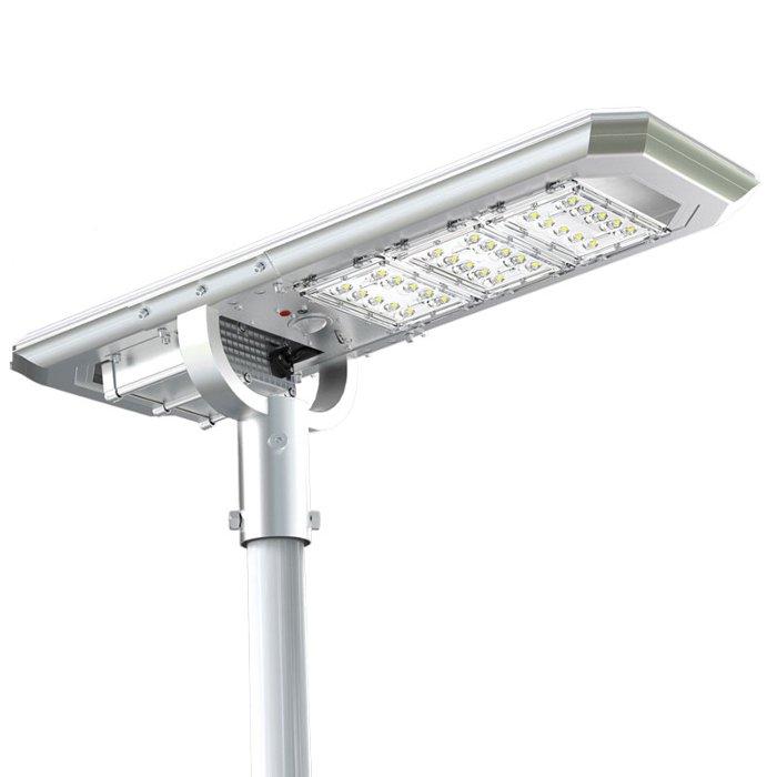 Lampione da esterno con pannello fotovoltaico incorporato, flusso luminoso 4000 lumen, 3 modalità di funzionamento