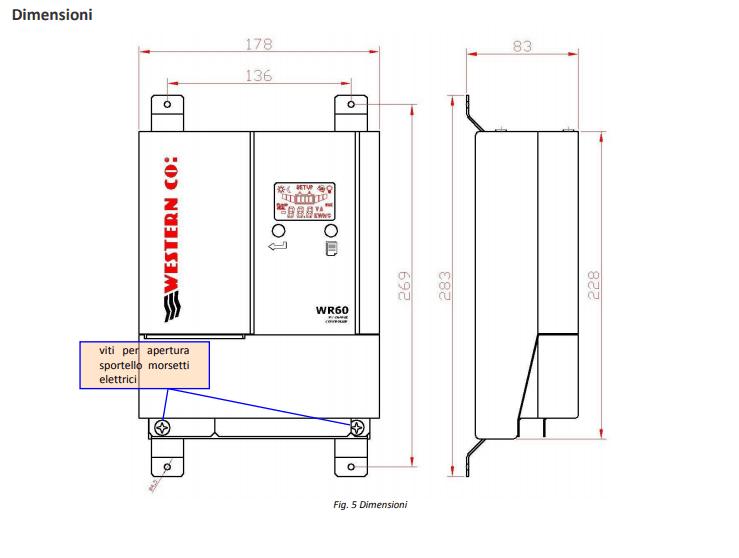 Dimensioni regolatore di carica WR60