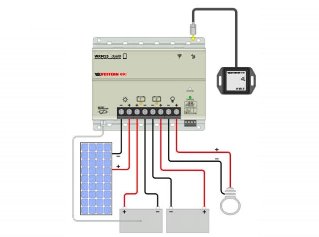 collegamento regolatore di carica western WRM15 Dual Battery