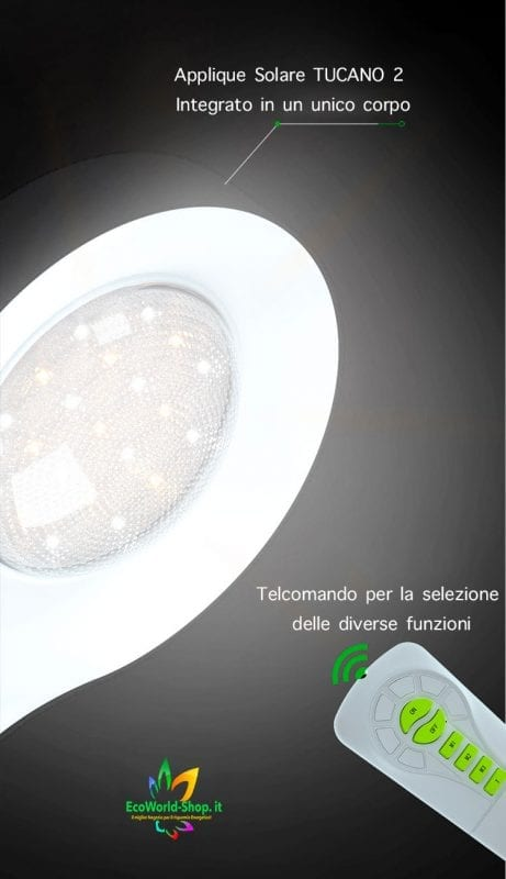 Lampada applique energia solare con telecomando 600 lumen