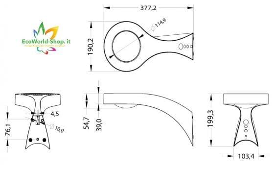 Dimensioni lampada energia solare Tucano 2