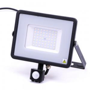 Faro a led con sensore di movimento 50 watt nero 4000 lumen VT-50-S