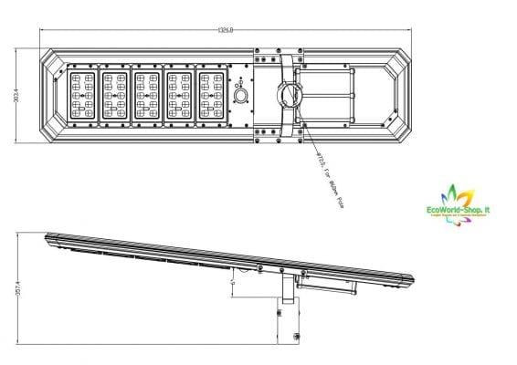 Dimensione lampione solare 5000 lumen