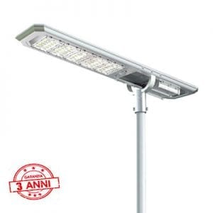 Lampione solare 5000 lumen sradale con pannello fotovoltaico