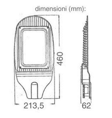 dimensioni lampione stradale led