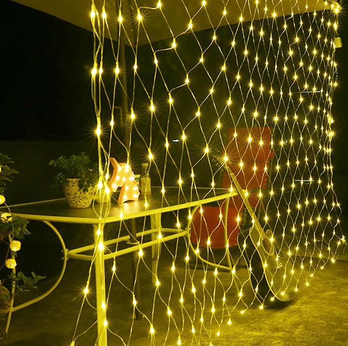 rete luminosa per esterno solare luce calda