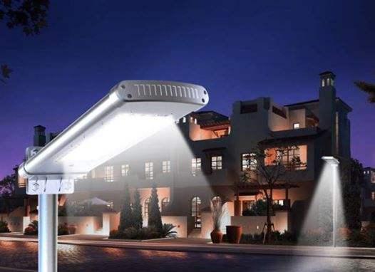 Lampione per esterno ad energia solare, 2000 lumen flusso luminoso pannello 15watt