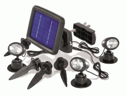 Faretto da Esterno con Pannello Fotovoltaico composto da 3 fonti luminose