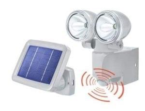 Faretto solare con doppia fonte luminosa e unico pannello fotovoltaico