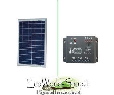 Pannello Fotovoltaico da 10Watt e regolatore di carica 5A