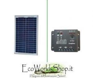 Kit Pannello Fotovoltaico 20 Watt e Regolatore di Carica 5A