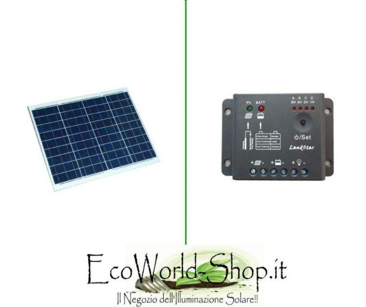 Kit Pannello Fotovoltaico 50 Watt e Regolatore 5A