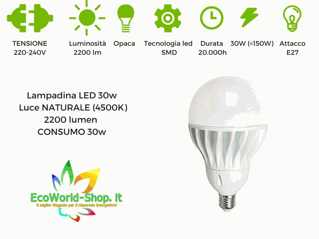 Lampadina a led 30 watt attacco e27 ecoworld for Lampadine led watt