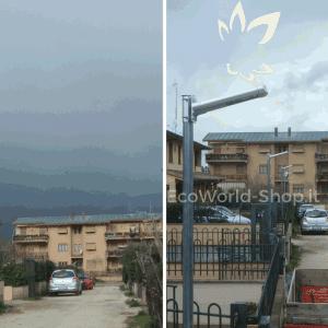 Lampioni solari installati in viale privato