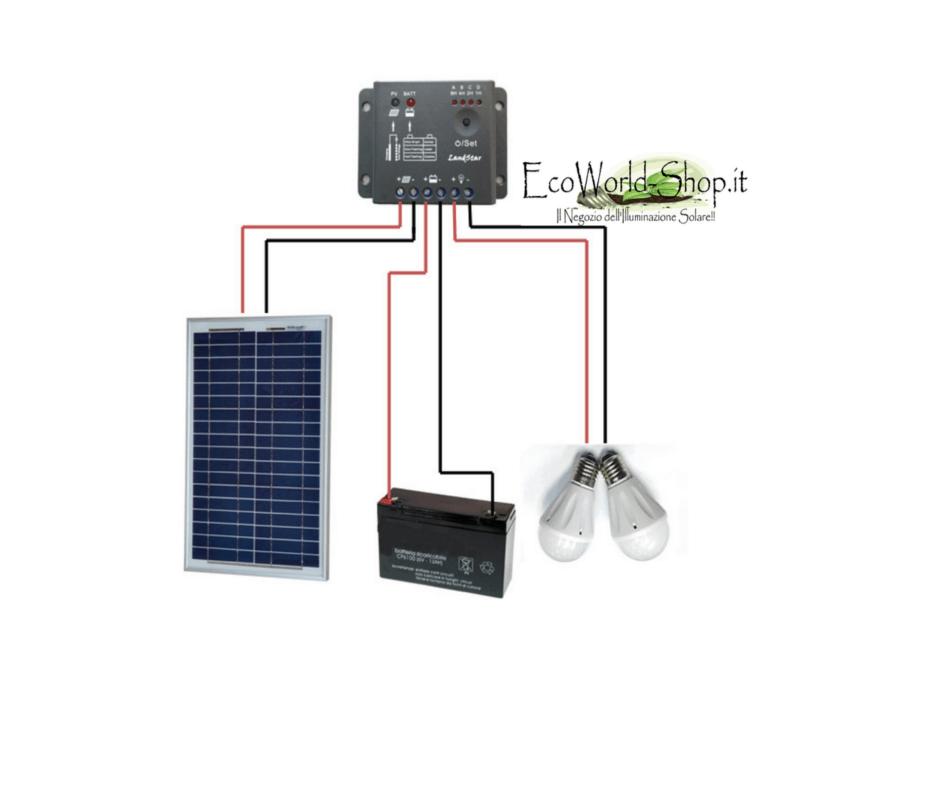 Kit Regolatore Di Carica Pannello Solare : Kit pannello fotovoltaico watt e regolatore di carica