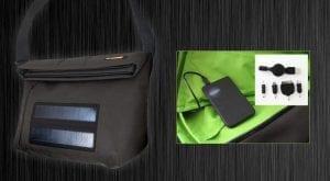Borsa ad Energia Solare per ricarica dispositivi come smartphone, tablet, mp3 e fotocamere