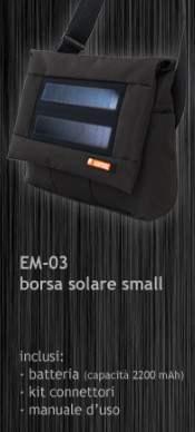 Borsa Tracolla con pannello fotovoltaico per ricarica di dispositivi elettronici