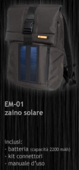 Zaino ad Energia Solare per ricarica dispositivi elettronici
