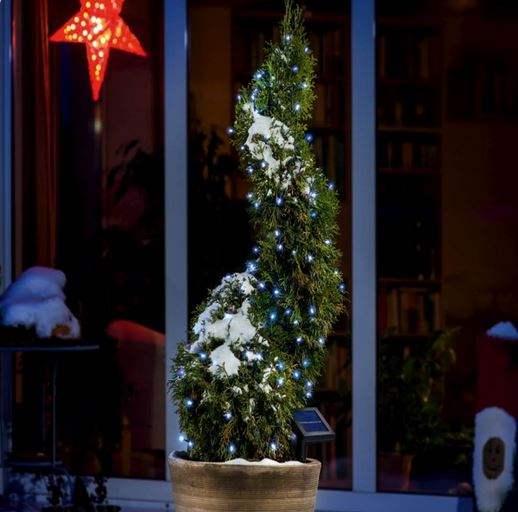 Pannello Solare Per Luci Natale : Luci di natale solari da esterno con led blu