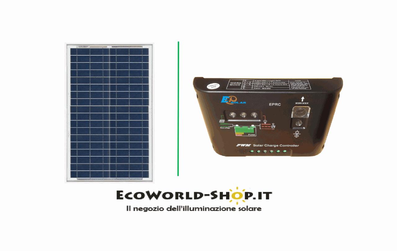 Kit Pannello Solare 10w : Kit pannello fotovoltaico w e regolatore di carica a
